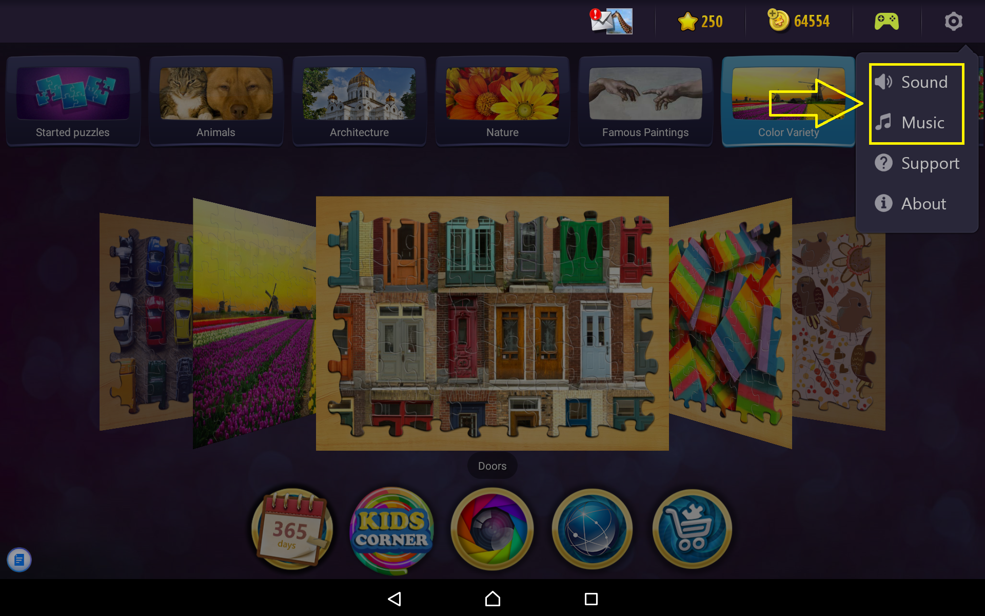 how do i turn on off music and sound effects magic jigsaw puzzles